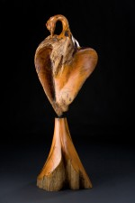 A photo glossy greeting card by artist Leo E. Osborne of a heron which was sculpted in maple burlwood and then cast in bronze to create a limited edition of fine art