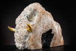 White Bison Goddess of Peace 22x14x14 Maple Burl Dyed
