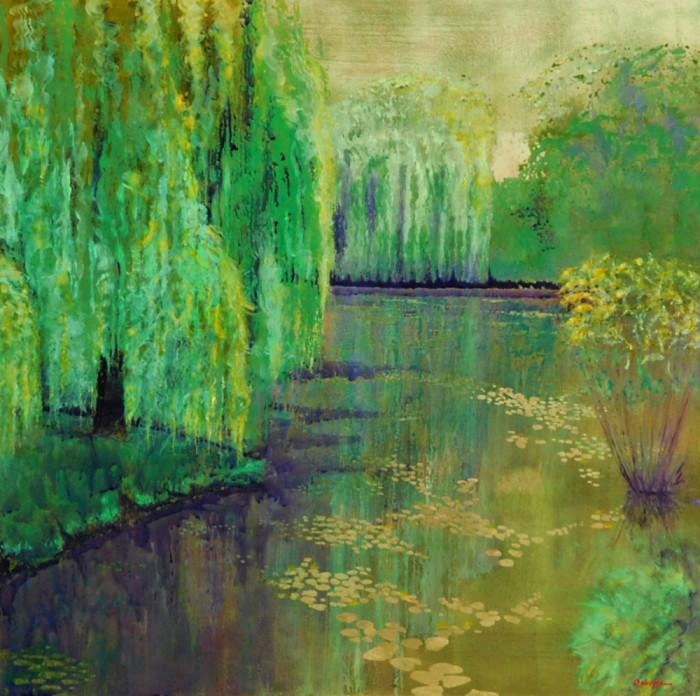 Misty Morning At Monet's Pond 4848